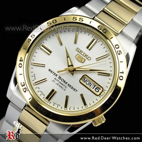 BUY Seiko 5 Two Tone White Face Day Date Mens Watch