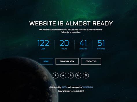 Timer Responsive Coming Soon Bootstrap Template