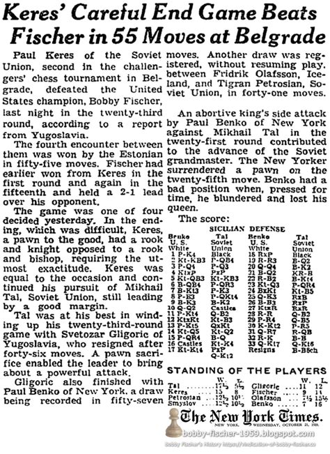Bobby Fischer 1959: Articles from 1959 Index