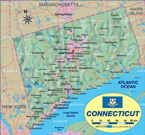 Map of Connecticut (State / Section in United States, USA