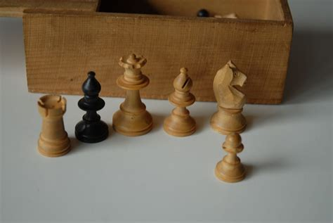 Vintage Fine Hand Made Wooden Chess Set in Box, : Europe